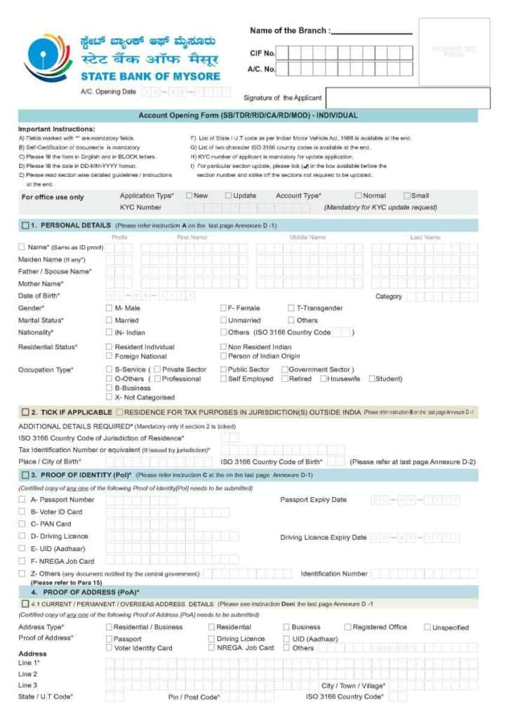 Sample application form opening a current account in State bank of Mysore