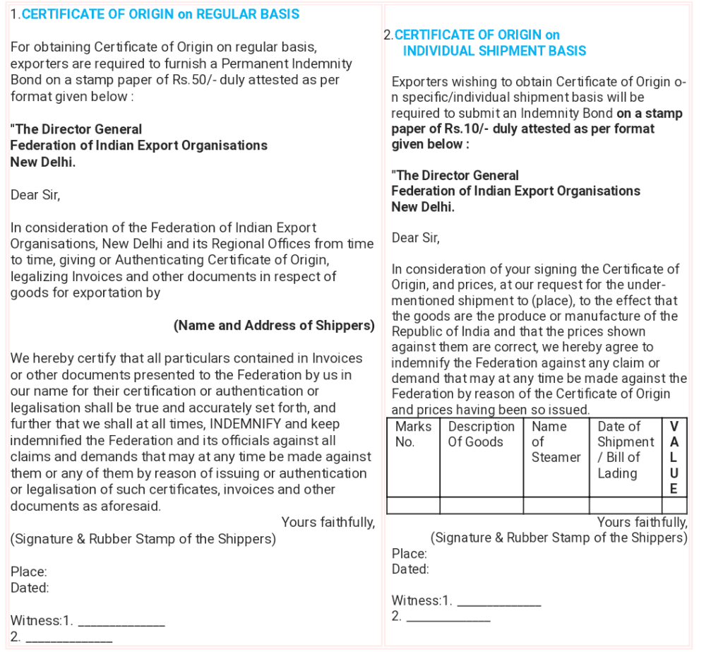 Format of the Indemnity bond on stamp paper for regular basis and individual consignments