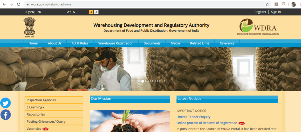 The homepage of WDRA website