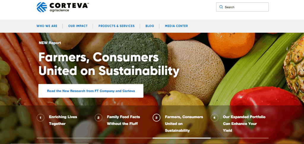 The official web page of Corteva Agriscience