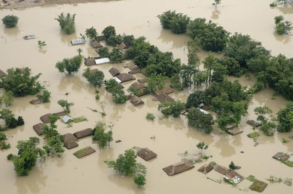 Ariel View of an Flood Affected District in India