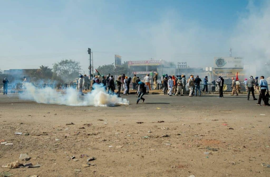Tear Gas Unleashed on Farmers Protesting Against the new Farm Bills